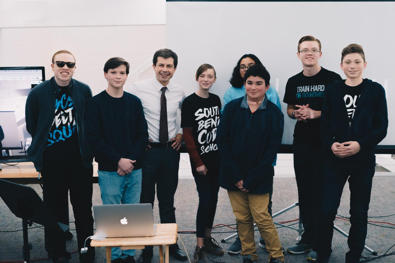 Code School students with Mayor Pete at the 'Hello World' pitch competition