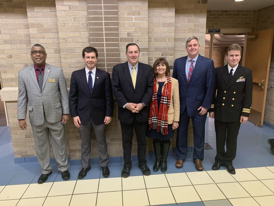 From left to right: Superintendent Dr. Spells, Mayor Buttigieg, Senator Donnelly, Mrs. Donelly, Principal Seitz and Mr. Walsh.