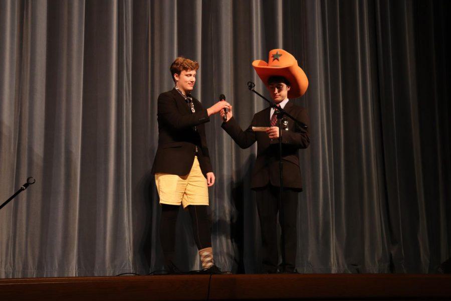 Jonathon, Sam, and an oversized novelty foam cowboy hat.