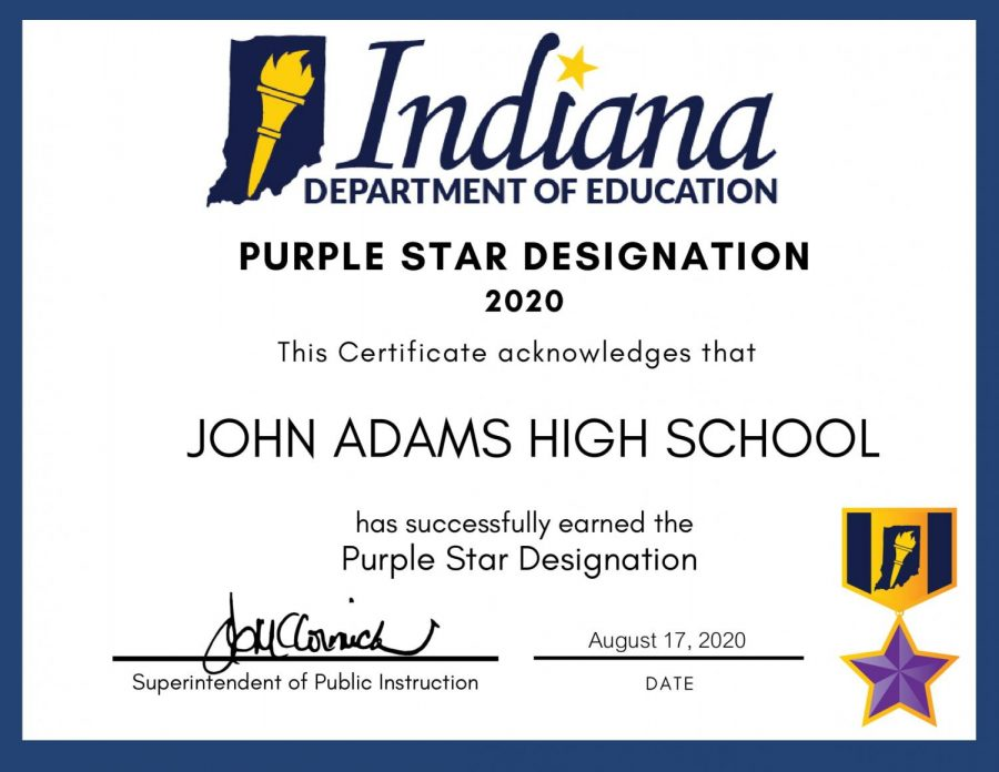 Adams+Receives+the+Purple+Star+Award