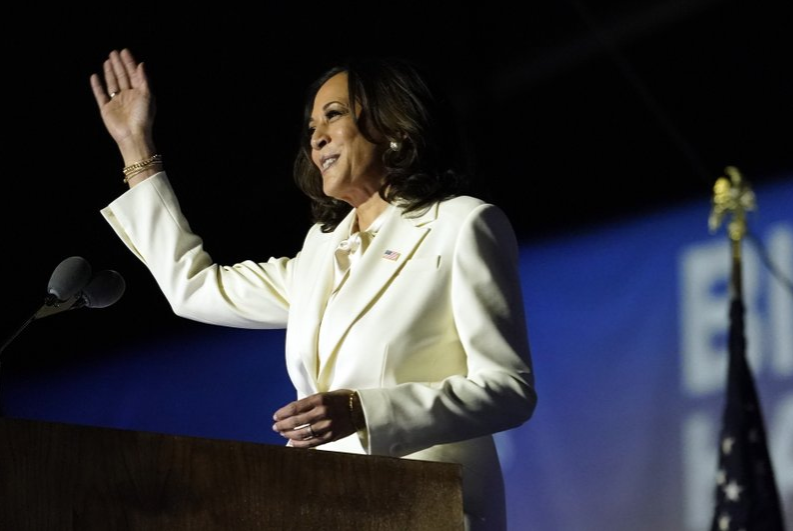 Vice+President-elect+Kamala+Harris+during+historic+victory+speech