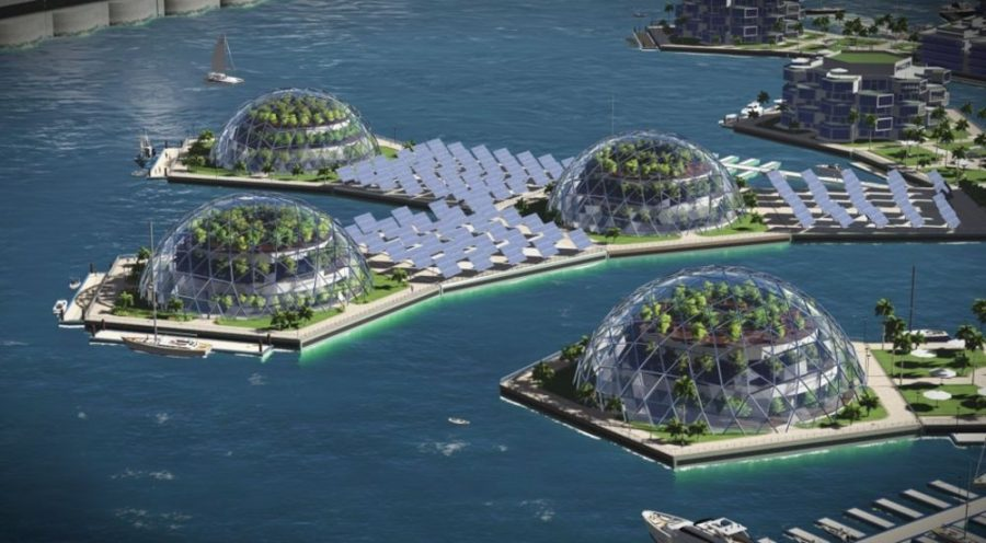 A digital artist's rendering of a potential floating city.
