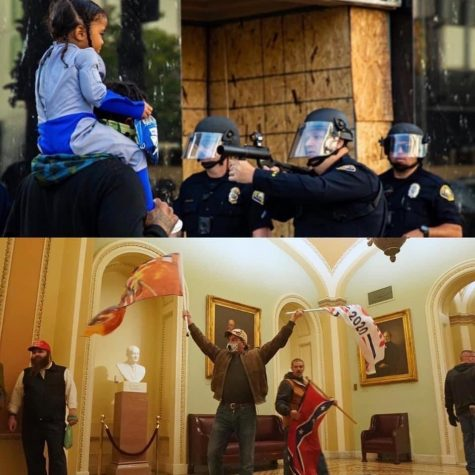 A comparison of images. The top image is from a BLM rally in Long Beach. The bottom image is from the insurrection against the Capitol.