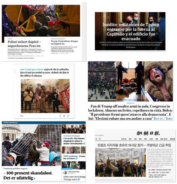 Clockwise from top left: Frankfurter Allgemeine, Germany; Clarín, Argentina; La Repubblica, Italy; The Chosun Ilbo, Korea; Adresseavisen, Norway; Dainik Bhaskar, India.